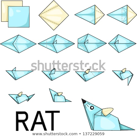 Bleu rat origami isolé blanche papier Photo stock © brulove