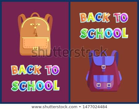 Okula geri posterler ağır ayarlamak şık deri Stok fotoğraf © robuart
