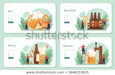 Beer Bottle, Glass and Mug Vintage Landing Page Stock photo © robuart