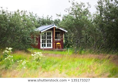 öreg · fából · készült · ajtó · izolált · fehér · épület - stock fotó © colematt