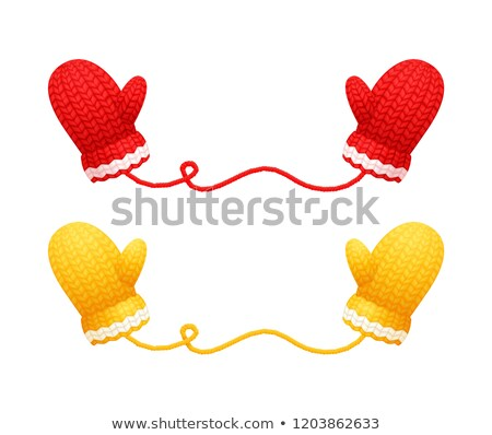 Chunky Knitted Gloves in Red Yellow Color Vector Stock photo © robuart