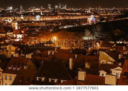 amazing aerial view of prague landmarks at night czeh stock photo © taiga