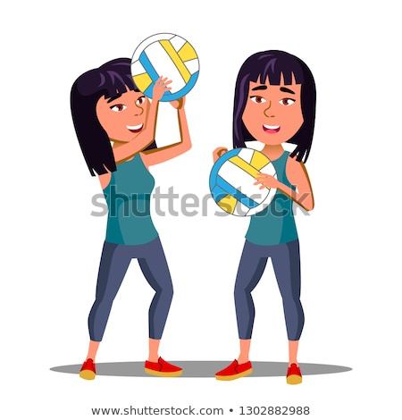 Asian Girl In Sports Form Playing Volleyball Vector. Isolated Illustration Stock photo © pikepicture