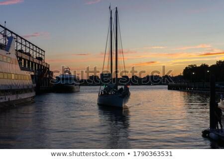 Jacht łodzi port Manhattan miasta panoramę Zdjęcia stock © AndreyPopov