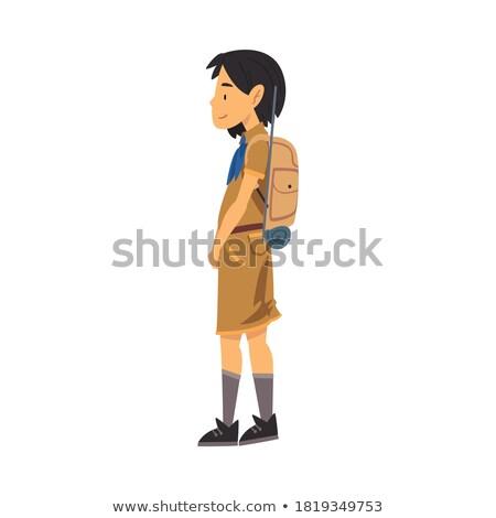 Morena menino escoteiro ilustração cara cabelo Foto stock © bluering