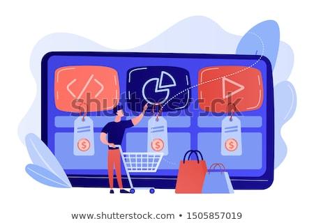 цифровой службе базарная площадь клиентов Корзина покупке Сток-фото © RAStudio
