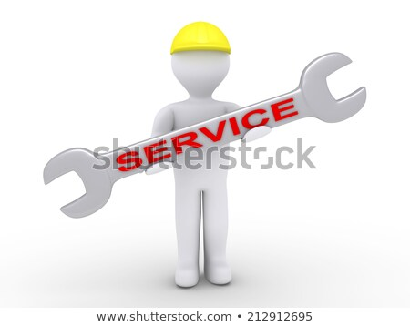 3d Man Holding Wrench Photo stock © 6kor3dos