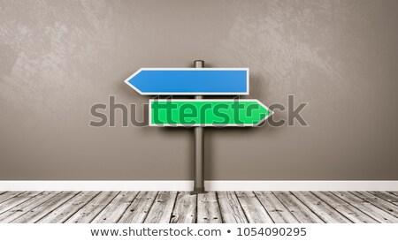 çatal · oklar · yol · işareti · mavi · yeşil · yalıtılmış - stok fotoğraf © make