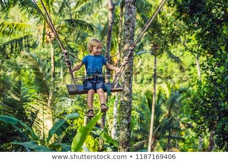 Garçon Swing jungle bali eau homme Photo stock © galitskaya