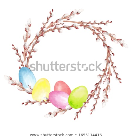 Easter eggs on pink background with willow branch. Stock photo © Illia