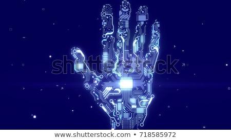 assurance · bleu · clavier · bouton · doigt · poussant - photo stock © tashatuvango
