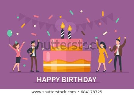 happy birthday party   flat design style illustration stock photo © decorwithme