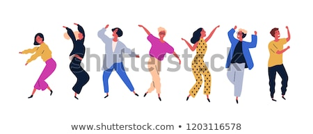 happy dancing people vector cartoon characters stock photo © robuart