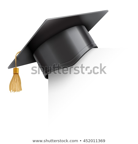 Stock photo: Graduation cap or mortar board on paper corner. Vector education design element isolated on white ba
