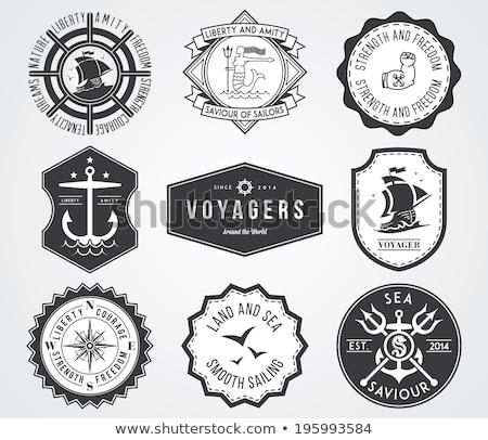 Color vintage náutico emblema blanco mano Foto stock © netkov1