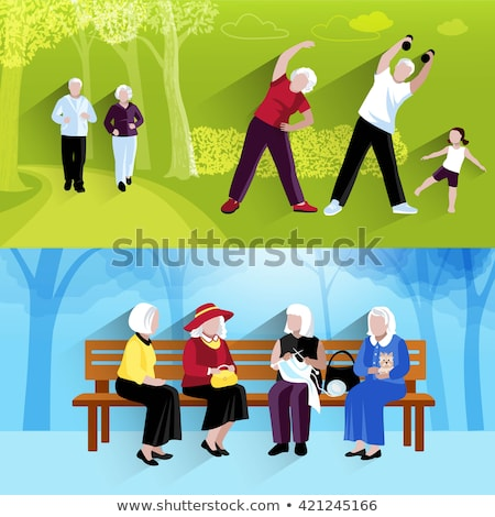 Old People in Park, Activity of Grandparent Vector Stock photo © robuart