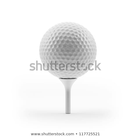 White Golf Ball on Tee Isolated on a White Background Stock photo © feverpitch