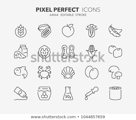 allergen free products vector thin line icons set stock photo © pikepicture