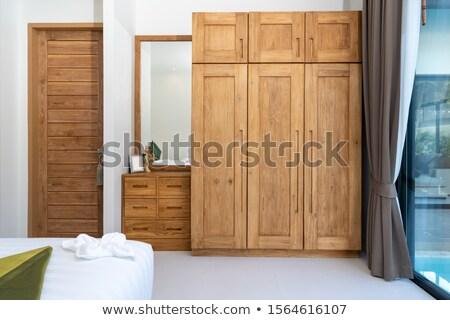 Houten garderobe witte hout slaapkamer kleding Stockfoto © magraphics