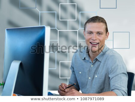 Stock photo: Businessman and mind map over building background