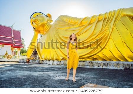 幸せ 女性 観光 仏 像 建物 ストックフォト © galitskaya