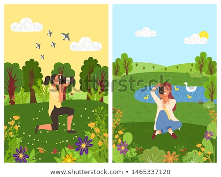 landscape with pond and swans forest and woman stock photo © robuart