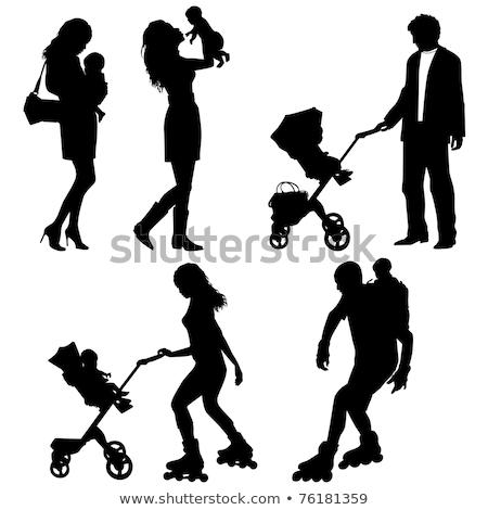 Anya baba megnyugtató park anyaság vektor Stock fotó © robuart