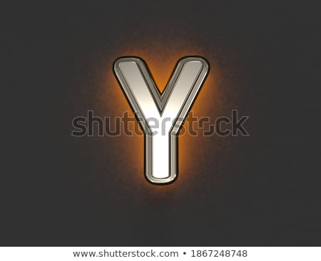 yellow outlined font letter y 3d stock photo © djmilic