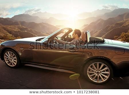 happy young woman posing in convertible car Stock photo © dolgachov