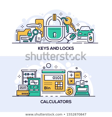 Keys and locks and calculators banner template Stock photo © Decorwithme