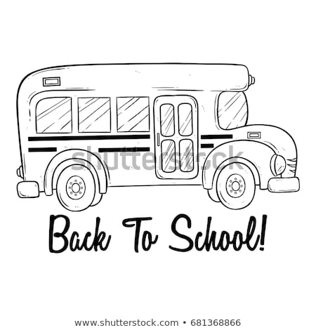 ストックフォト: スクールバス · 黒 · アイコン · シルエット · 白 · 車両