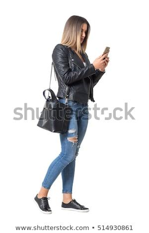 mooie · jonge · vrouw · straat · najaar · dag · koffiekopje - stockfoto © boggy