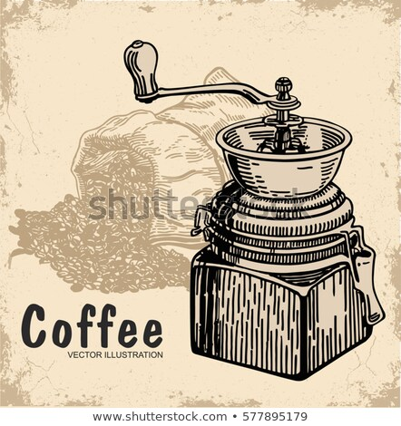 Monochrome Coffee Grinder, Sketch of Retro Mill Stock photo © robuart
