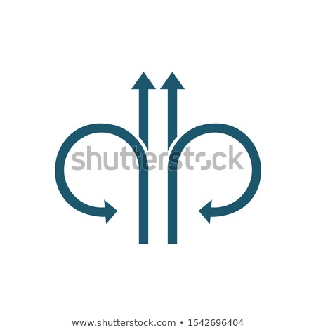 Four Arrows straight or forward and turn back. Continue icon. Enter and exit signs. North and South  Stock photo © kyryloff