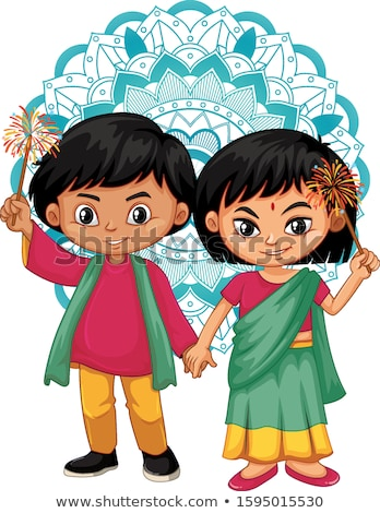 Indian boy and girl with mandala pattern in background Stock photo © bluering