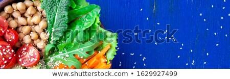 Banner of Vegan buddha bowl on blue wooden background. Stock photo © Illia