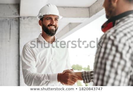 Aperto de mão aceitação mulher construção trabalhar Foto stock © Kzenon