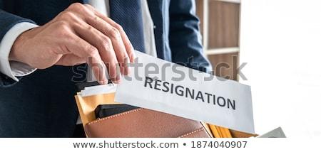Empresário estresse renúncia assinatura cancelamento contrato Foto stock © snowing