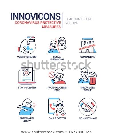 Koronavírus betegség vonal terv stílus ikon szett Stock fotó © Decorwithme