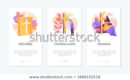 Chrześcijaństwo app interfejs szablon kościoła kongregacja Zdjęcia stock © RAStudio
