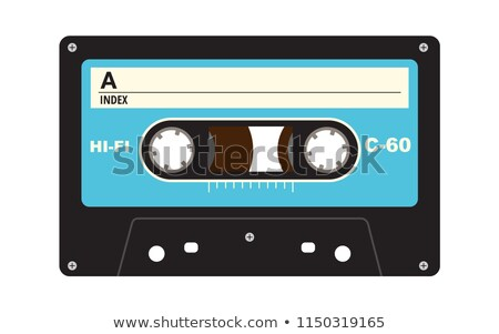 Gray audio cassette with magnetic tape, vintage object isolated on white Stock photo © evgeny89