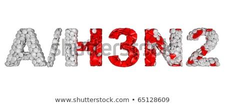 swine flu h3n2 alert   word assemled with pills stock photo © arsgera