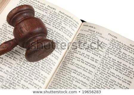 vieux · papier · marteau · mot · droit · bois · papier - photo stock © latent