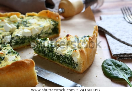 Spinach and feta cheese quiche Stock photo © fotogal