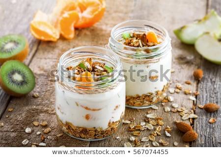 Natural yogurt in glass and apple stock photo © Bellastera