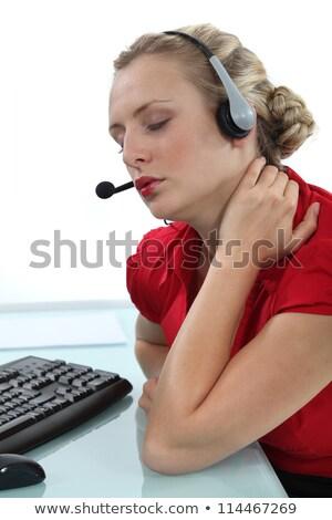 Telefono operatore dolore al collo ragazza lavoro sfondo Foto d'archivio © photography33