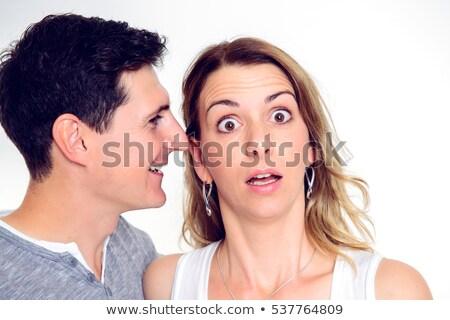 rumeurs · femme · chuchotement · oreille · couple · bouche - photo stock © photography33