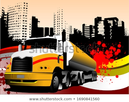 Abstract urban background with lorry image. Vector Stock photo © leonido