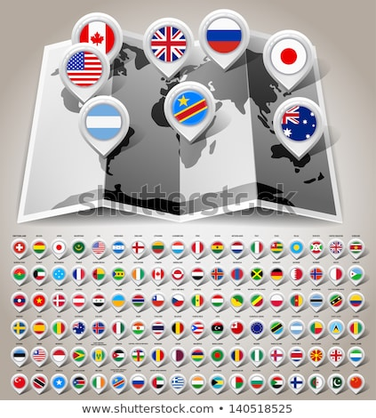 navigation pointer icons with world flags Stock photo © marish