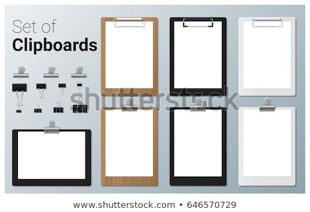 fekete · clipboard · üres · papír · toll · labda · háttér - stock fotó © witthaya
